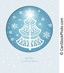 Merry Christmas greeting card with pine-tree