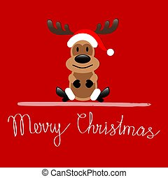 Merry Christmas greeting card with Reindeer Rudolph sitting on red background, stock vector illustration