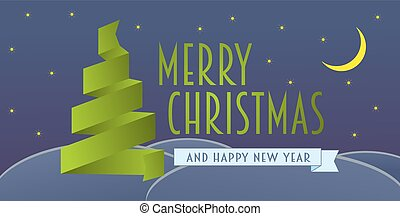 Merry Christmas greeting card with ribbon christmas tree. Vector eps10 illustration