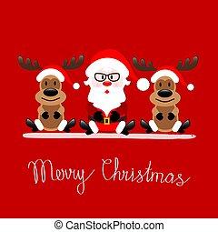Drunk Santa Claus Drinking Booze Christmas Greeting Card Vector On