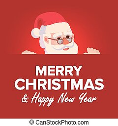 Merry Christmas Greeting Card With Santa Claus Vector. Place For Text. Brochure Design Template. Holidays Decoration Illustration