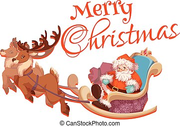 Merry Christmas greeting card with Santa Claus on sledge and deers. Vector illustration
