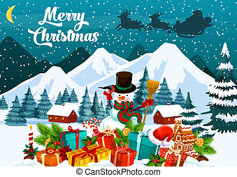 merry Christmas greeting card with snowman in hat -...