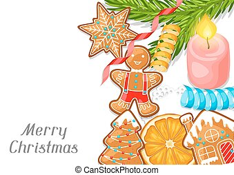 Merry Christmas greeting card with various gingerbreads