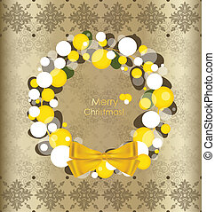 Merry Christmas greeting card with vintage background, vector illustration.