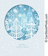 Merry Christmas greeting card with winter forest