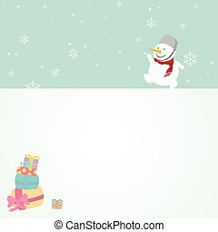 Merry christmas greeting card.Snowman with copy space.