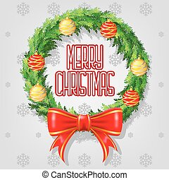 Merry Christmas Greeting. Christmas Wreath with Red Ribbon and Christmas balls Vectors design.