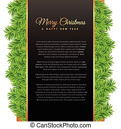 merry christmas greeting design with green pine tree leafs
