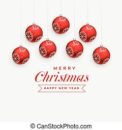 merry christmas greeting design with hanging red balls