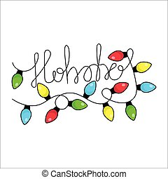 Merry Christmas greeting hand-lettering card with ...