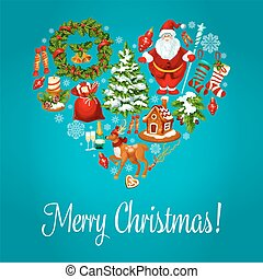 Merry Christmas greeting in heart shape