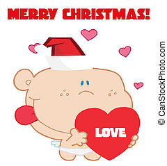 Merry Christmas Greeting Of Cupid