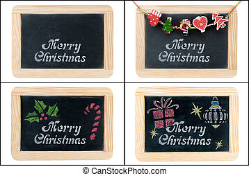Merry Christmas greeting on chalkboard frames
