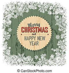 Merry Christmas greeting on green wooden background, vector.