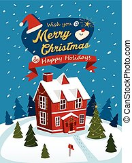 Merry Christmas greeting posters with red house