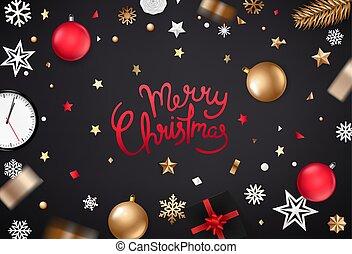 Merry Christmas greeting vector card