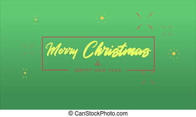 Merry Christmas greeting with firework animation collection