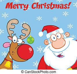 Greeting With Reindeer And Santa