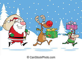 Reindeer, Elf And Santa Claus - Merry Christmas Greeting...