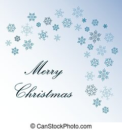 Merry Christmas greeting with snowflakes on blue background vector.