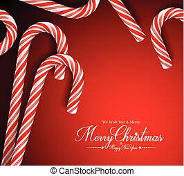 Merry Christmas Greetings Card with Realistic Candy Cane