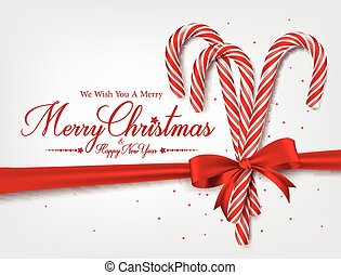 Realistic 3D Candy Cane - Merry Christmas Greetings in ...