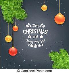 Merry Christmas greetings logo on chalkboard