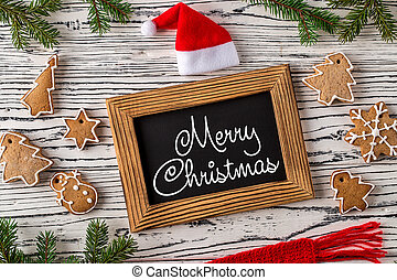 Merry Christmas greetings postcard with gingerbread cookie