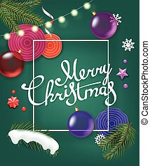 Merry Christmas greetings. Vector greeting card