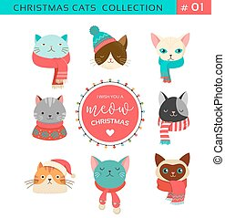 Merry Christmas greetings with cute cats characters, vector collection