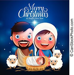 Merry Christmas greetings with jesus born in manger, belen with joseph and mary vector characters
