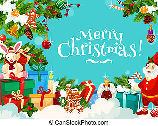 Merry Christmas greetings with Santa gifts, vector