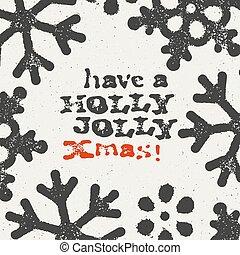 Merry Christmas Grunge Postcard. Design On white Textured Background.