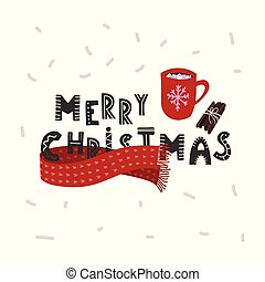 Merry Christmas hand drawn hot cocoa or chocolate cup with marsmellows. Holiday card