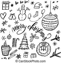 Merry Christmas hand-drawn illustration with text.
