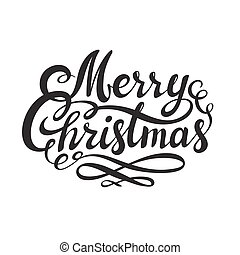 Merry Christmas hand drawn lettering isolated on white background.