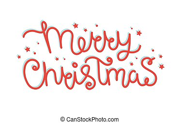 Merry christmas hand drawn lettering, vector illustration