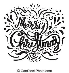 Merry Christmas hand drawn lettering with line pattern.