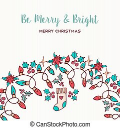 Merry Christmas hand drawn nature ornament card