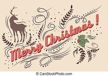 Vintage greeting card - Merry Christmas!. Hand drawn Vintage...