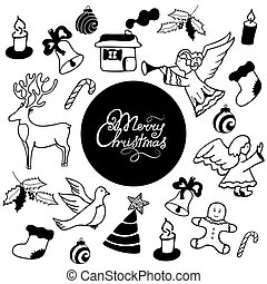 Merry Christmas hand lettering. Festive attributes in Doodle style.