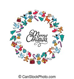 Merry Christmas hand lettering. Festive frame for the New Year in doodle style..