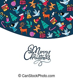 Merry Christmas hand lettering. Festive postcard for the New Year in doodle style..