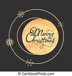 Merry Christmas hand lettering. Gold texture. Design of a greeting card for the New Year holidays.