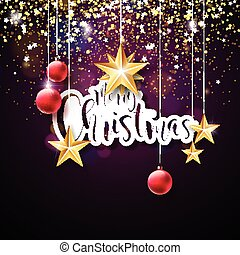 Merry Christmas Hand Lettering Illustration with Paper Label and Red Ornamental Glass Balls on Dark Violet Background. Vector EPS 10 Holiday Design.