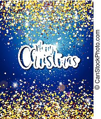 Merry Christmas Hand Lettering Illustration with Paper Label on Shiny Glittered Background. Vector EPS 10 Holiday Design.