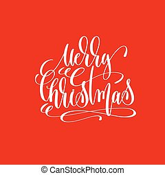 merry christmas hand lettering inscription on red background