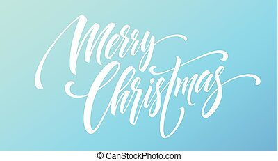 Merry Christmas handwriting script lettering on a bright colored background. Vector illustration