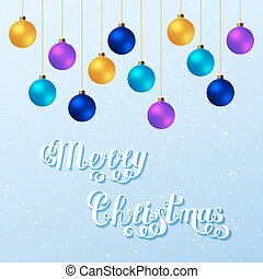Merry Christmas Handwritten Lettering Text with Blue, Violet, Yellow Christmas Balls on Light Background.